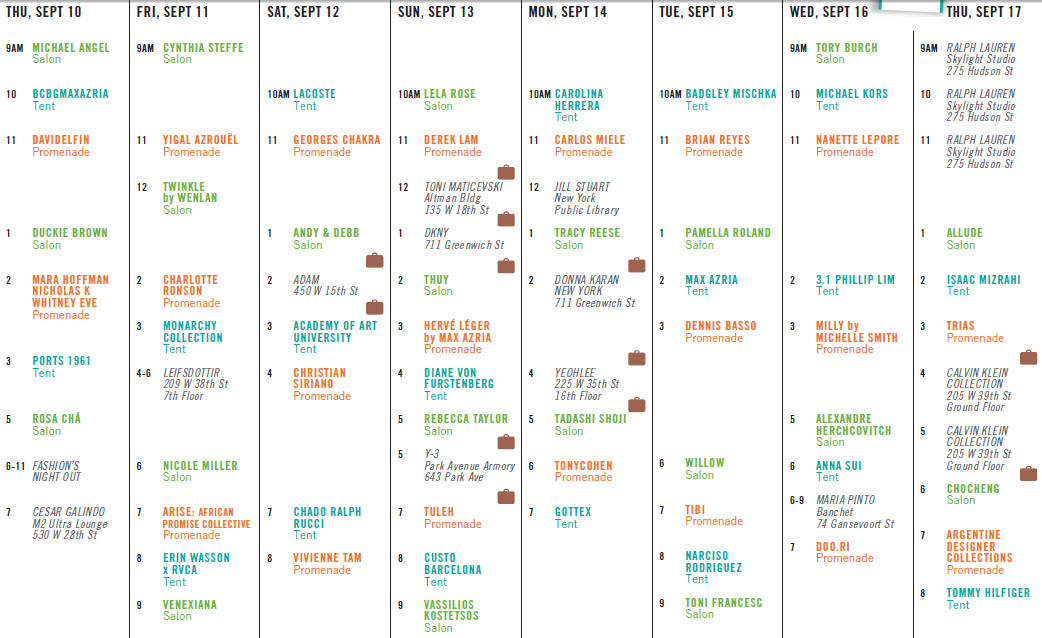 Calendario NY Mercedes Benz Fashion Week